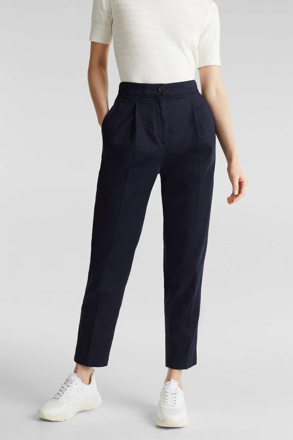 With TENCEL™: Trousers with waist pleats, NAVY, detail image number 0