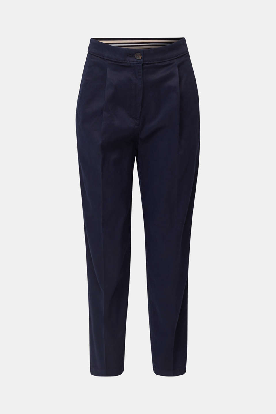 With TENCEL™: Trousers with waist pleats, NAVY, detail image number 6