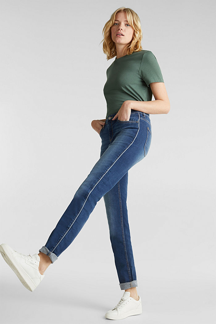 Jeans with piping, BLUE MEDIUM WASHED, detail image number 0