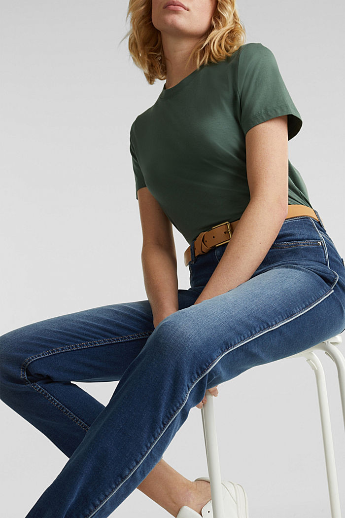 Jeans with piping, BLUE MEDIUM WASHED, detail image number 6