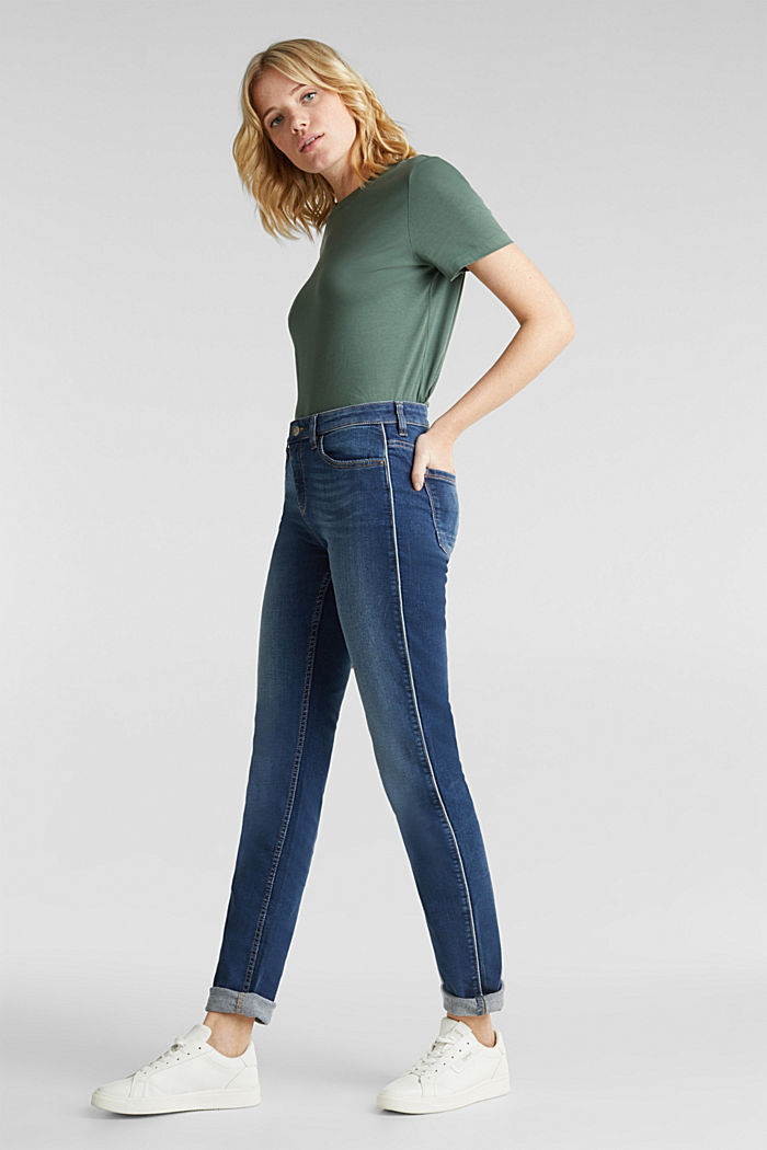Jeans with piping, BLUE MEDIUM WASHED, detail image number 1