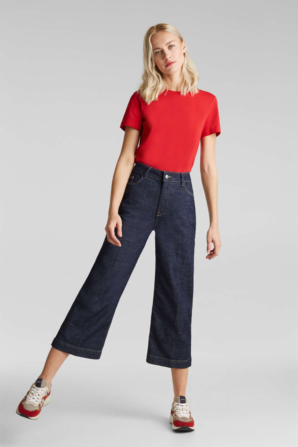 Denim culottes with Lycra®, BLUE RINSE, detail image number 0