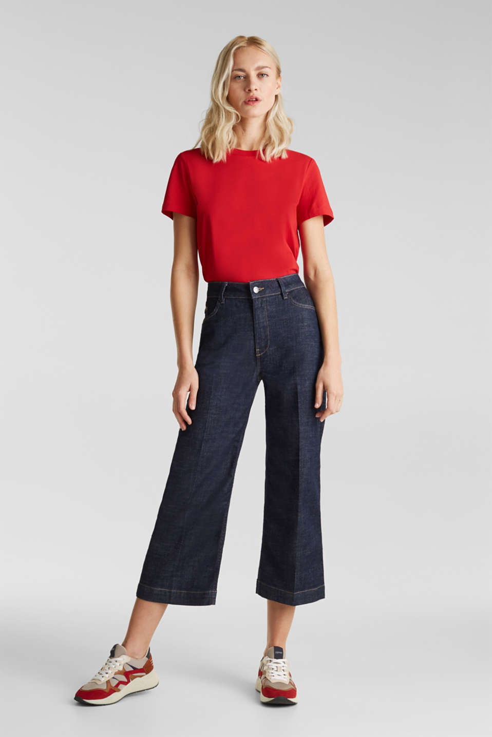 Denim culottes with Lycra®, BLUE RINSE, detail