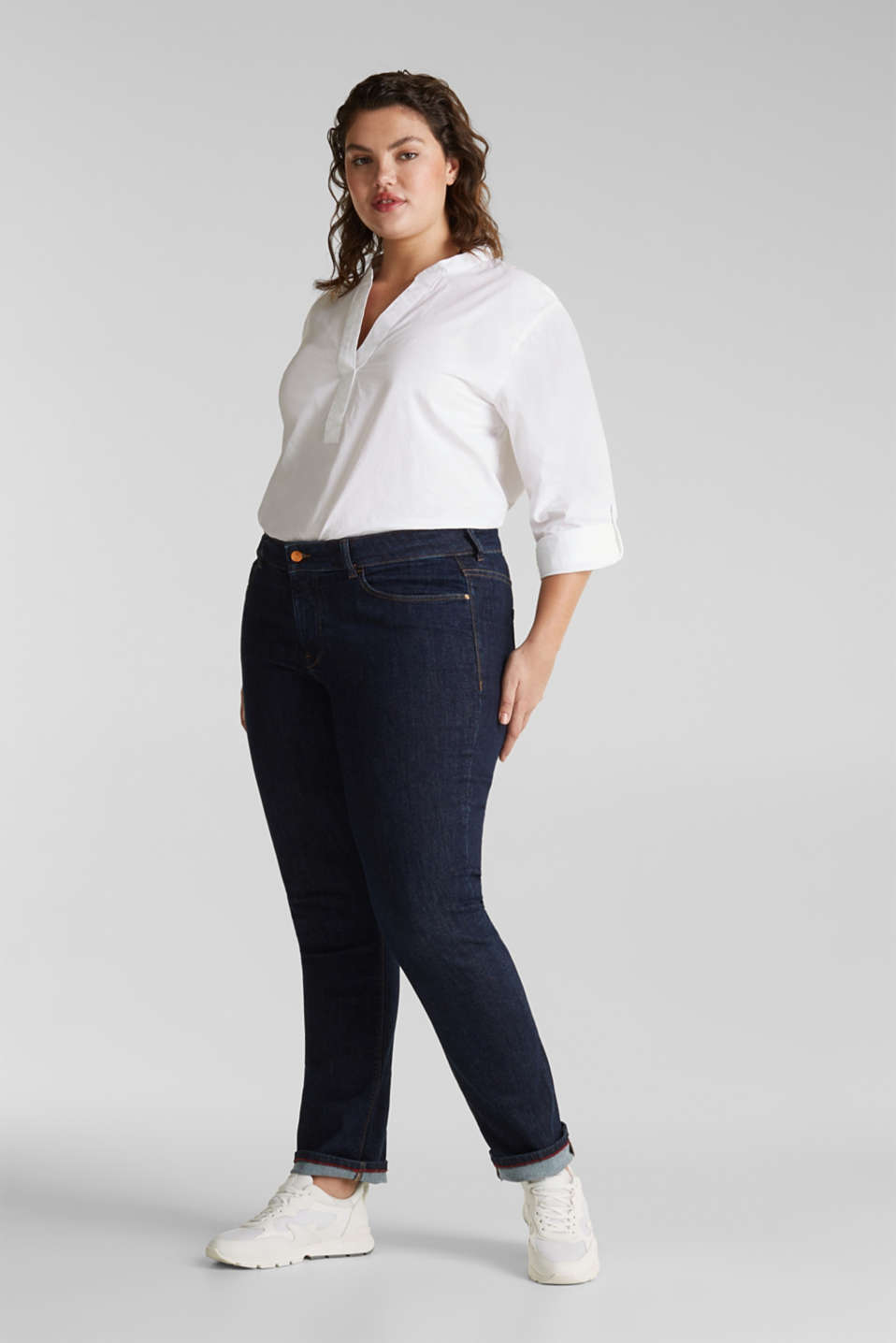 Esprit - CURVY basic jeans met comfortabele stretch