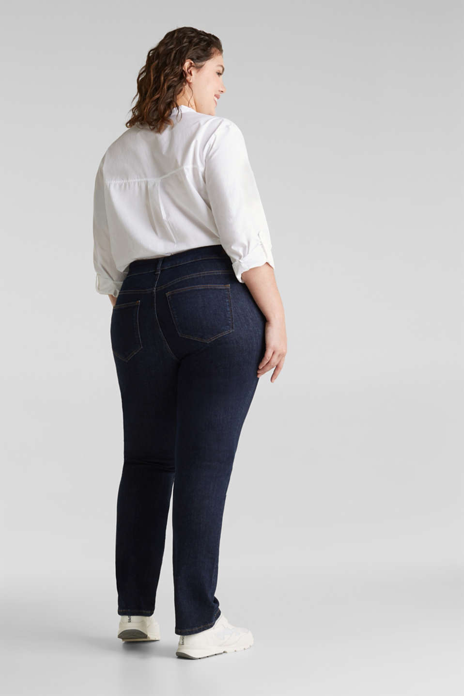CURVY basic jeans with added stretch for comfort, BLUE RINSE, detail image number 3