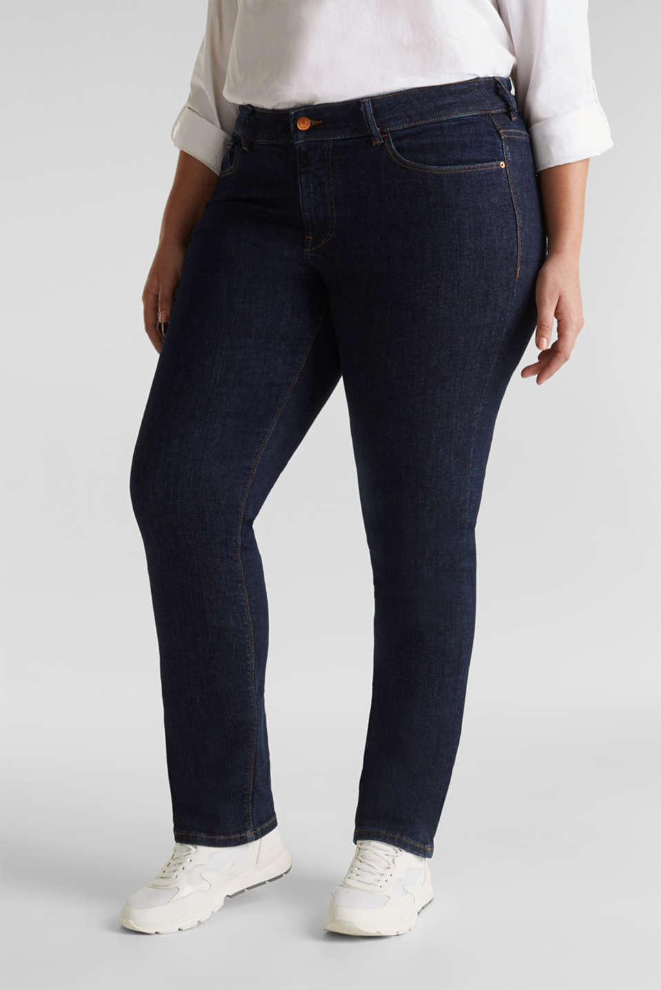 CURVY basic jeans with added stretch for comfort, BLUE RINSE, detail image number 6