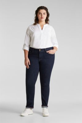 CURVY basic jeans with added stretch for comfort, BLUE RINSE, detail