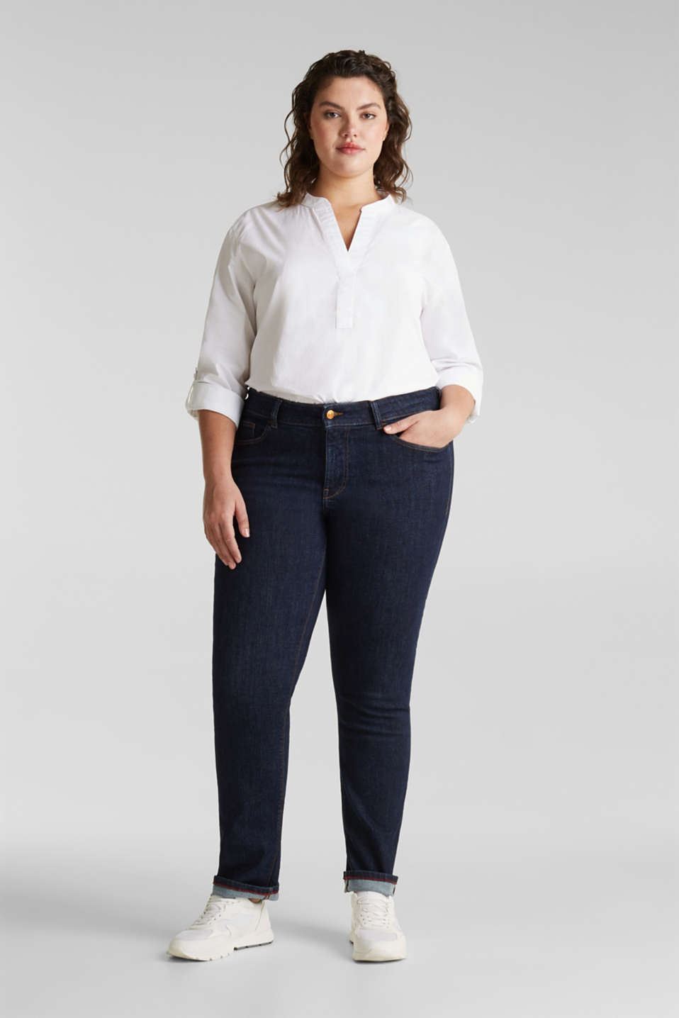 CURVY basic jeans with added stretch for comfort, BLUE RINSE, detail image number 1