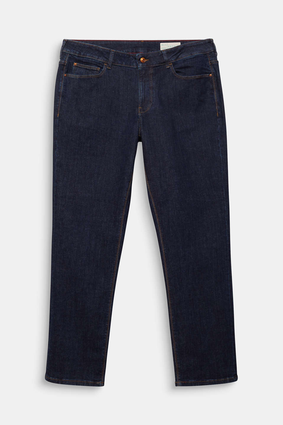 CURVY basic jeans with added stretch for comfort, BLUE RINSE, detail image number 7