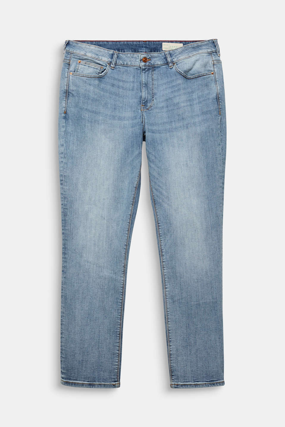 CURVY basic jeans with added stretch for comfort, BLUE LIGHT WASH, detail image number 7