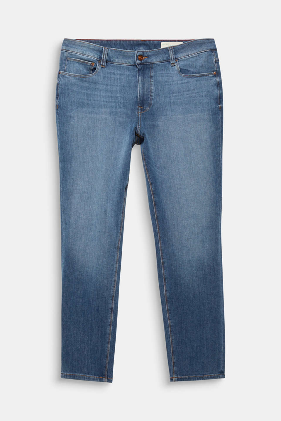 CURVY skinny two-way stretch jeans, BLUE MEDIUM WASH, detail image number 7