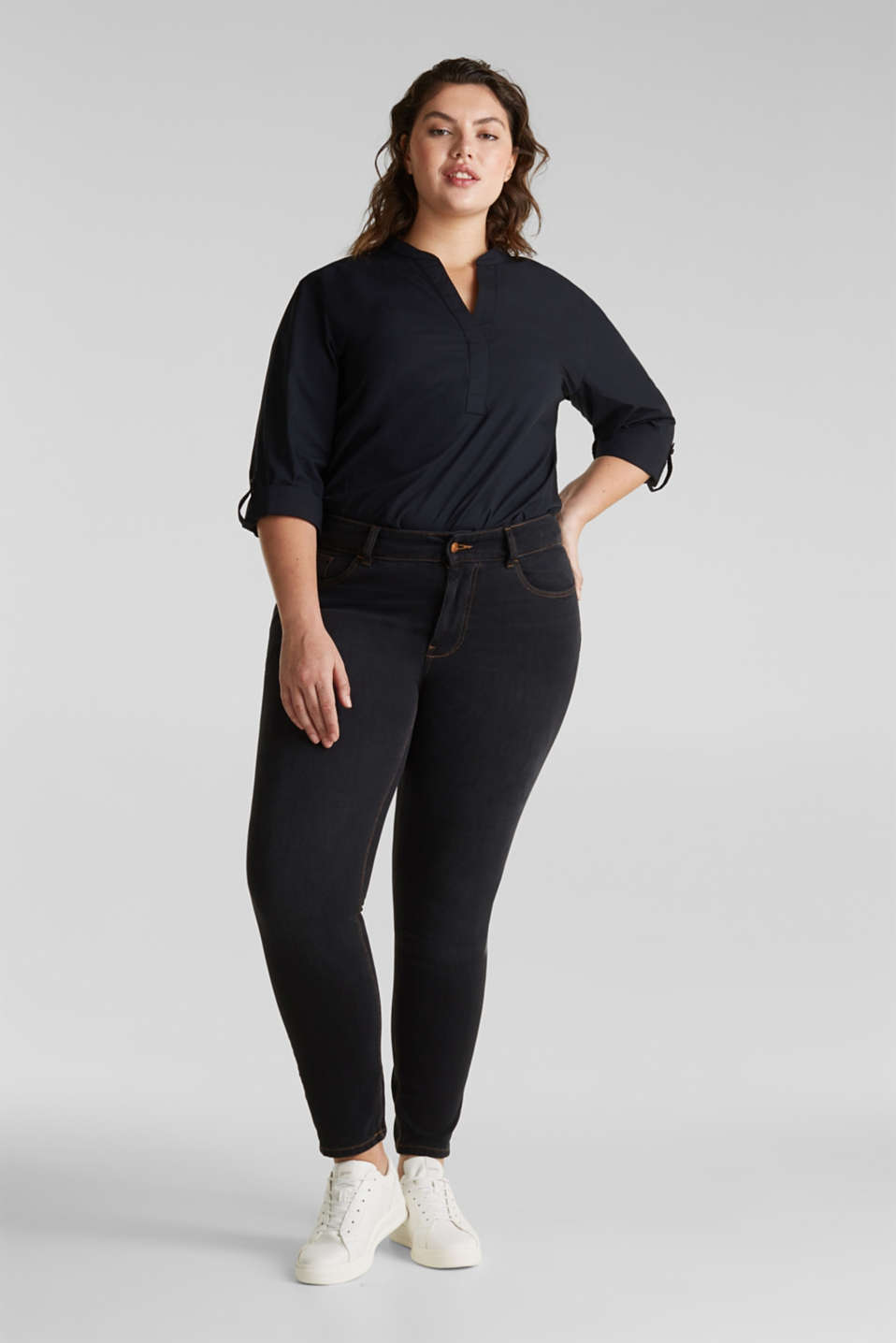 CURVY two-way stretch jeans, BLACK DARK WASH, detail image number 0