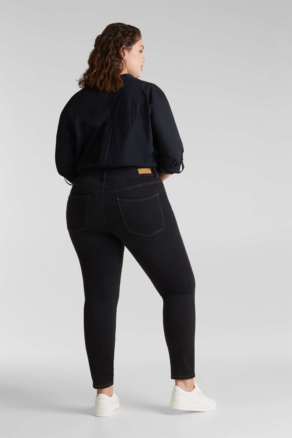 CURVY two-way stretch jeans, BLACK DARK WASH, detail image number 3