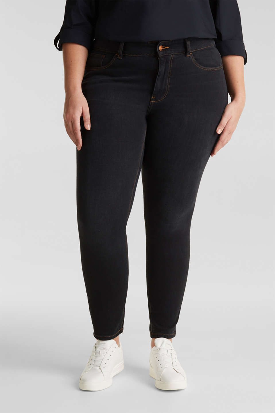 CURVY two-way stretch jeans, BLACK DARK WASH, detail image number 6