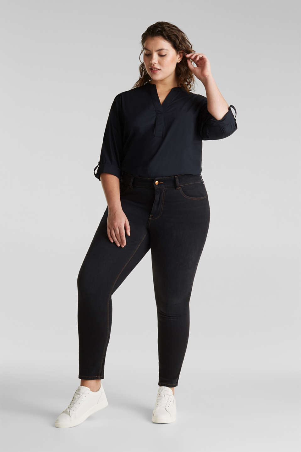 CURVY two-way stretch jeans, BLACK DARK WASH, detail image number 1