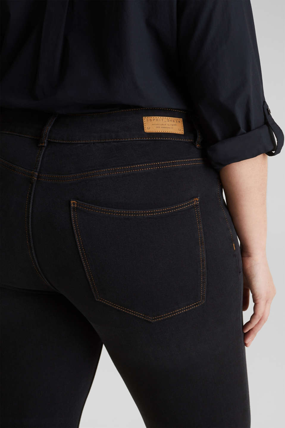 CURVY two-way stretch jeans, BLACK DARK WASH, detail image number 5