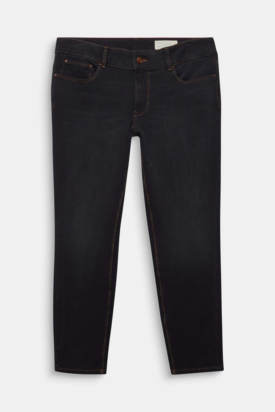 CURVY two-way stretch jeans, BLACK DARK WASH, detail image number 7