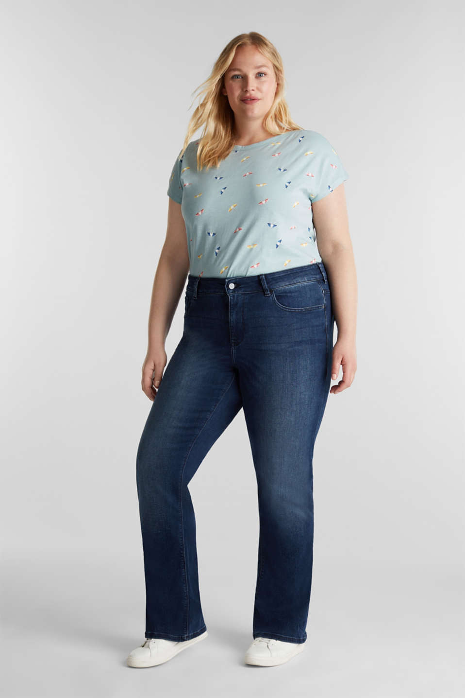 Esprit - CURVY basic-jeans med stretch