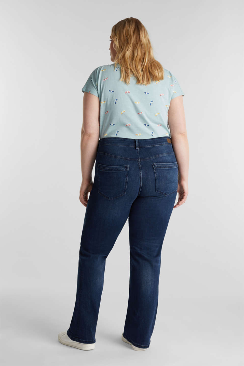 CURVY basic jeans with stretch, BLUE DARK WASH, detail image number 3
