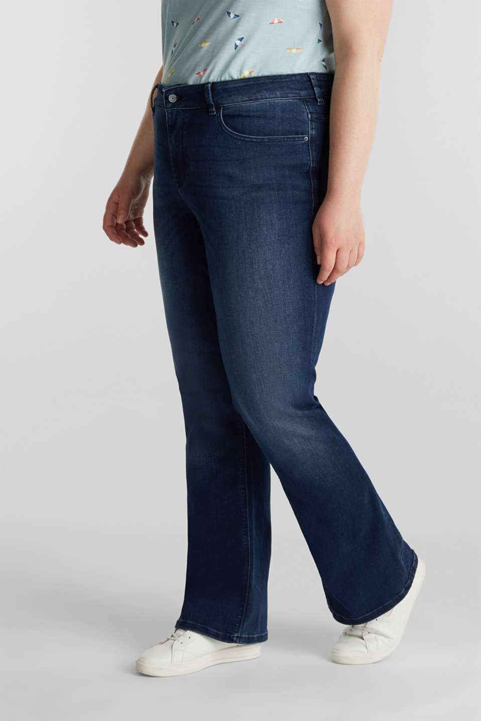 CURVY basic jeans with stretch, BLUE DARK WASH, detail image number 1