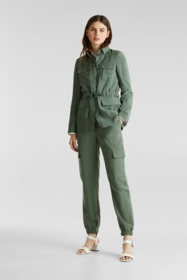 Tracksuit bottoms in a utility look, KHAKI GREEN, detail