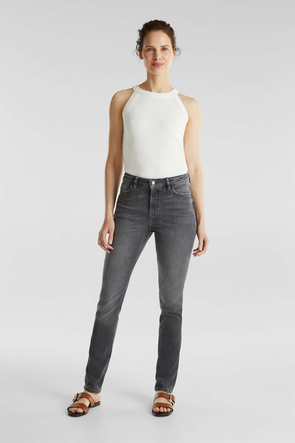 Esprit - High-waisted jeans with TENCEL™