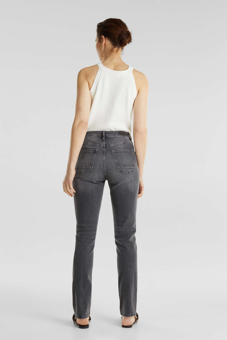 High-waisted jeans with TENCEL™, GREY MEDIUM WASH, detail image number 3