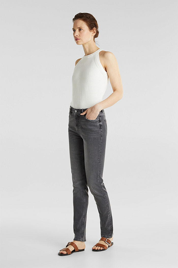 High-waisted jeans with TENCEL™, GREY MEDIUM WASHED, detail image number 1
