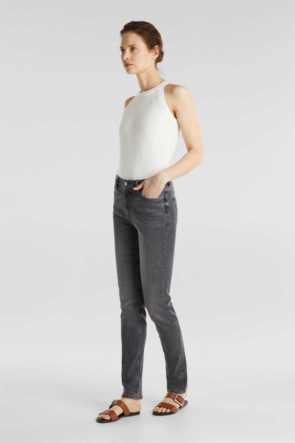 High-waisted jeans with TENCEL™, GREY MEDIUM WASH, detail image number 1