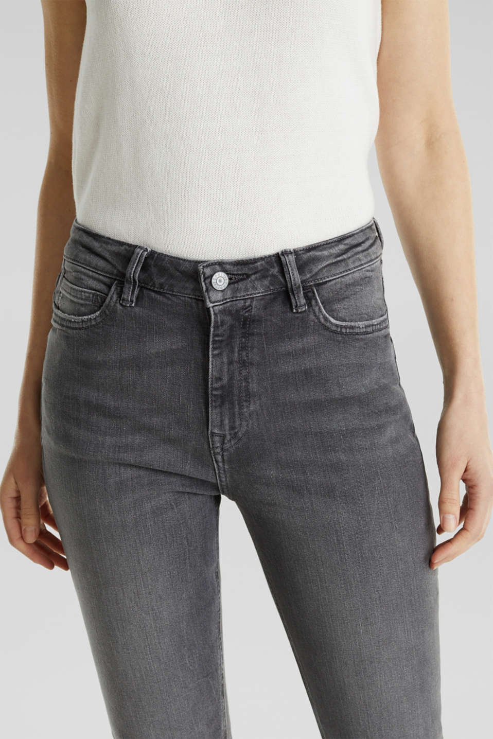 High-waisted jeans with TENCEL™, GREY MEDIUM WASH, detail image number 2