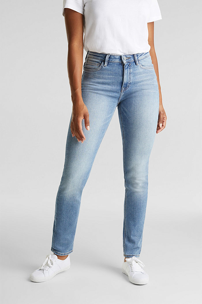Jeans with a garment-washed effect, BLUE LIGHT WASHED, detail image number 0