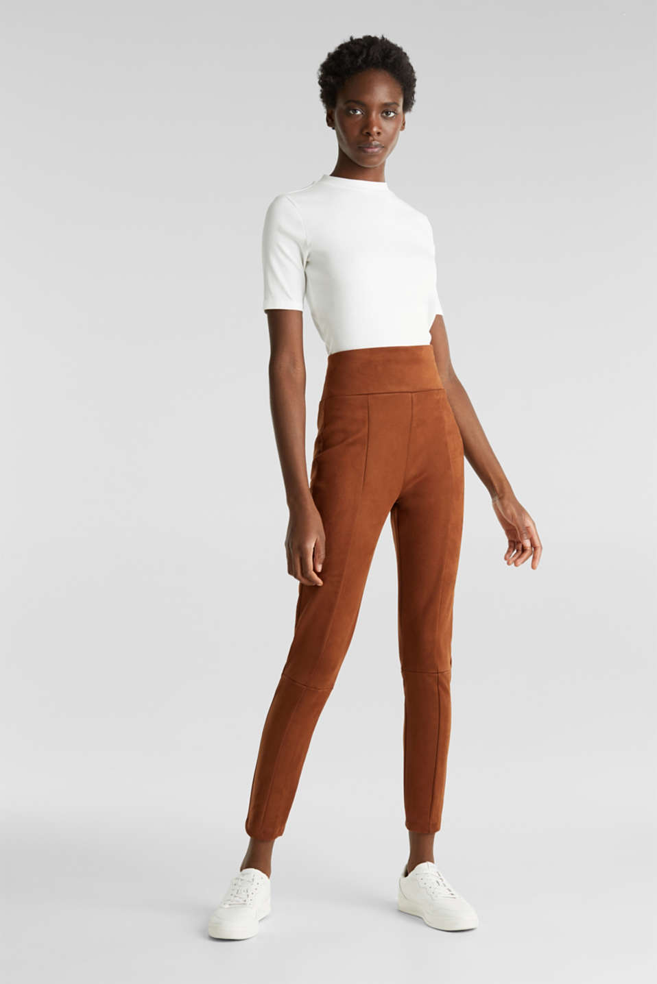 High-rise treggings in faux suede, TOFFEE, detail image number 0