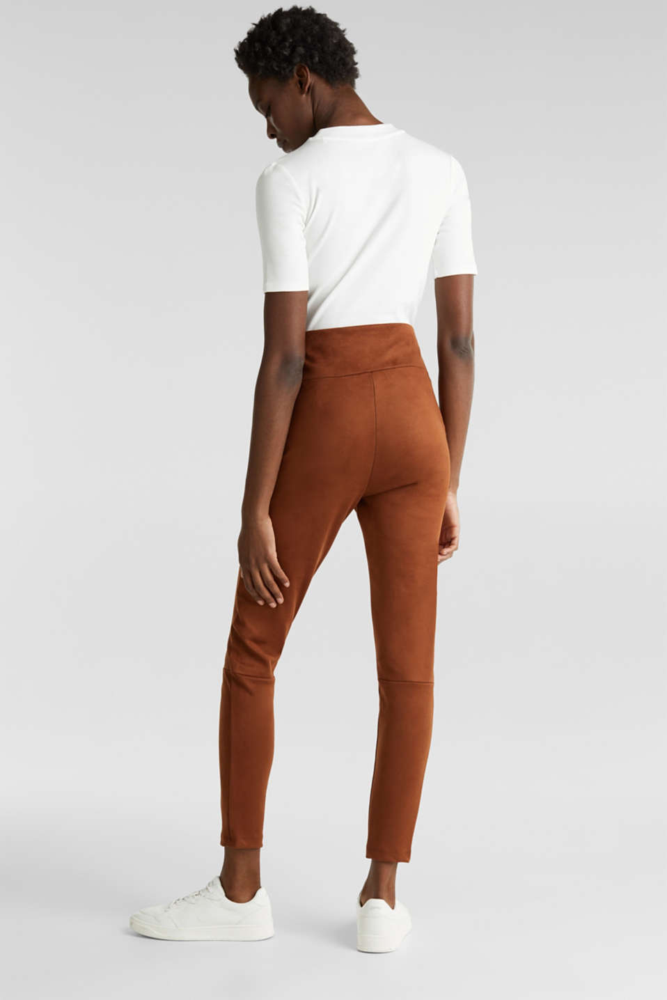 High-rise treggings in faux suede, TOFFEE, detail image number 3