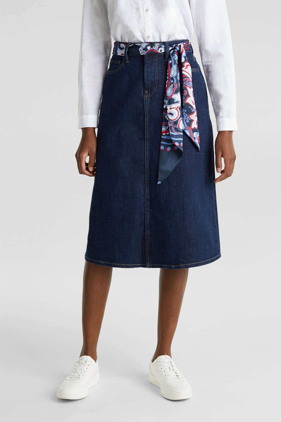 Denim skirt with a bandana tie-around belt, BLUE RINSE, detail image number 0