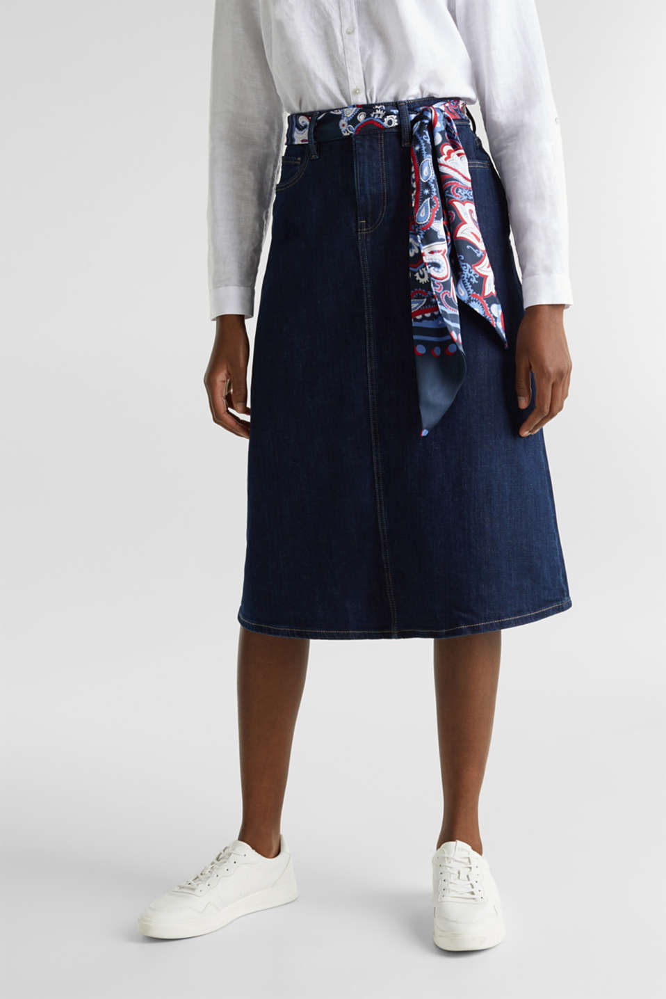Denim skirt with a bandana tie-around belt, BLUE RINSE, detail image number 6