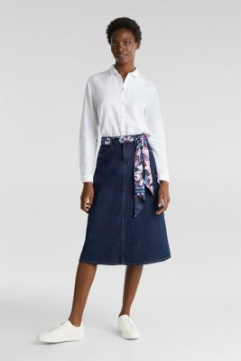 Denim skirt with a bandana tie-around belt, BLUE RINSE, detail