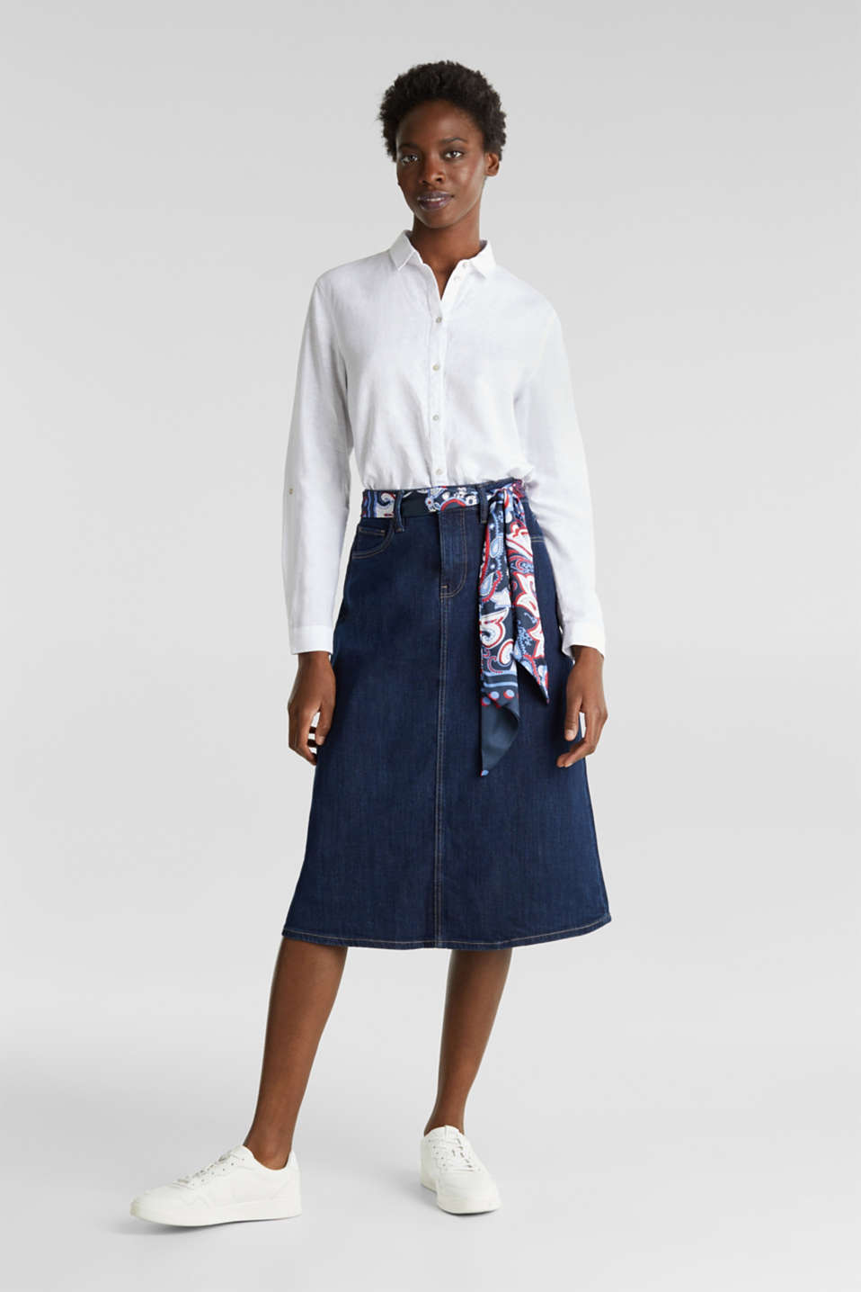 Denim skirt with a bandana tie-around belt, BLUE RINSE, detail image number 1