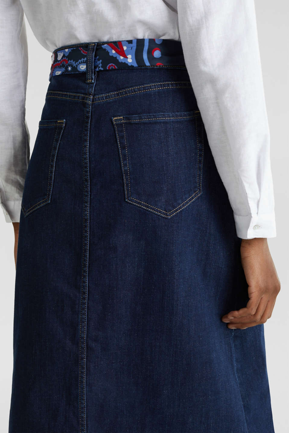 Denim skirt with a bandana tie-around belt, BLUE RINSE, detail image number 5