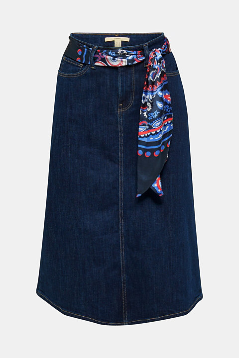Denim skirt with a bandana tie-around belt