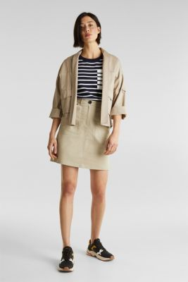 Mini skirt with patch pockets, BEIGE, detail