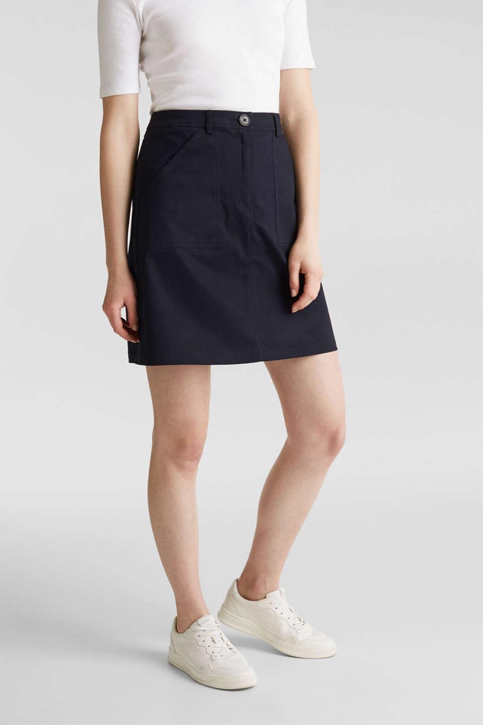 Mini skirt with patch pockets, NAVY, detail image number 6