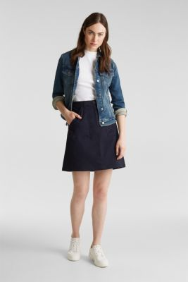 Mini skirt with patch pockets, NAVY, detail