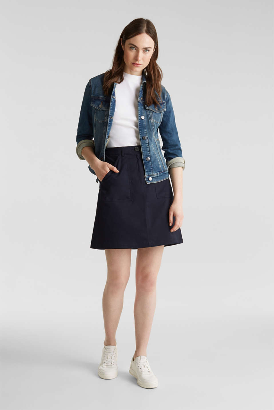 Mini skirt with patch pockets, NAVY, detail image number 1