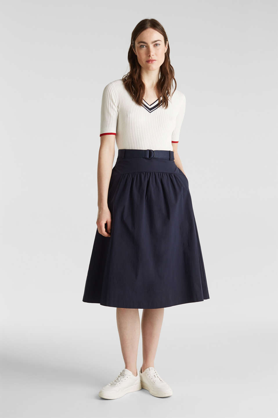 Esprit - Flared poplin skirt with a belt