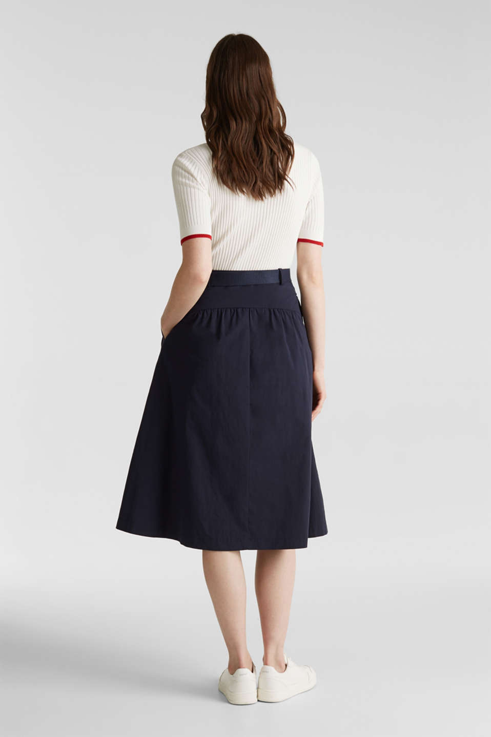 Flared poplin skirt with a belt, NAVY, detail image number 2
