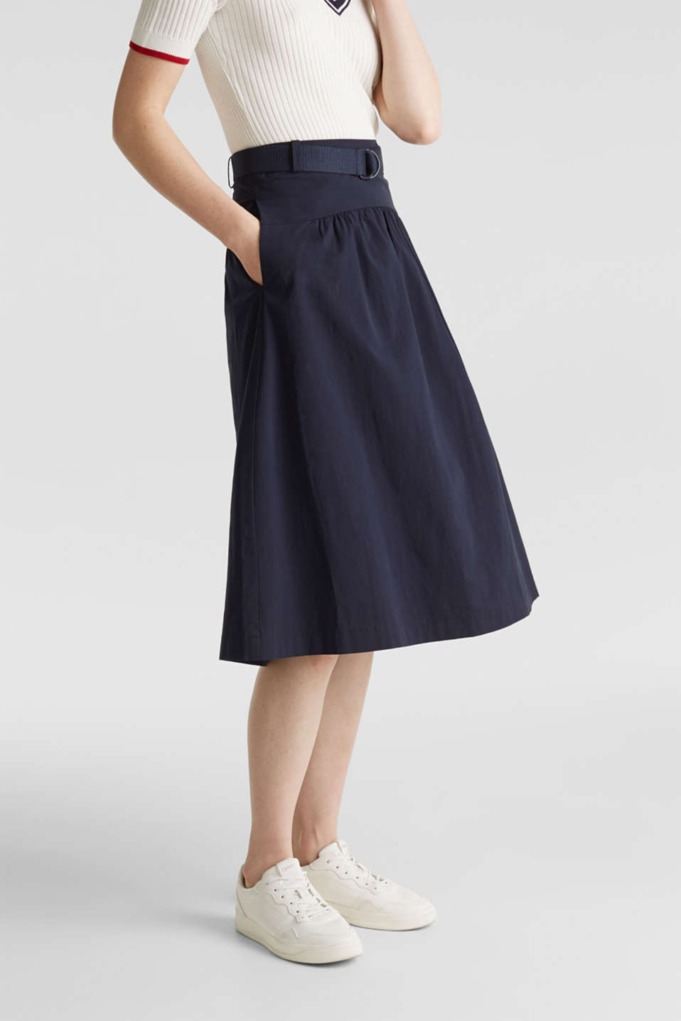 Flared poplin skirt with a belt, NAVY, detail image number 5