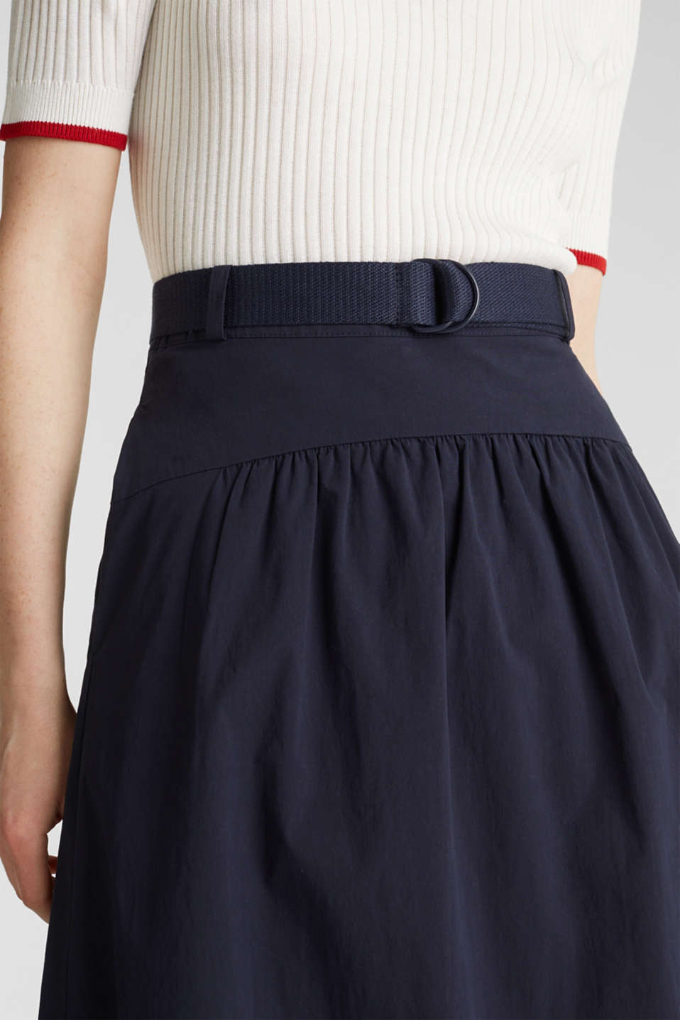 Flared poplin skirt with a belt, NAVY, detail image number 1