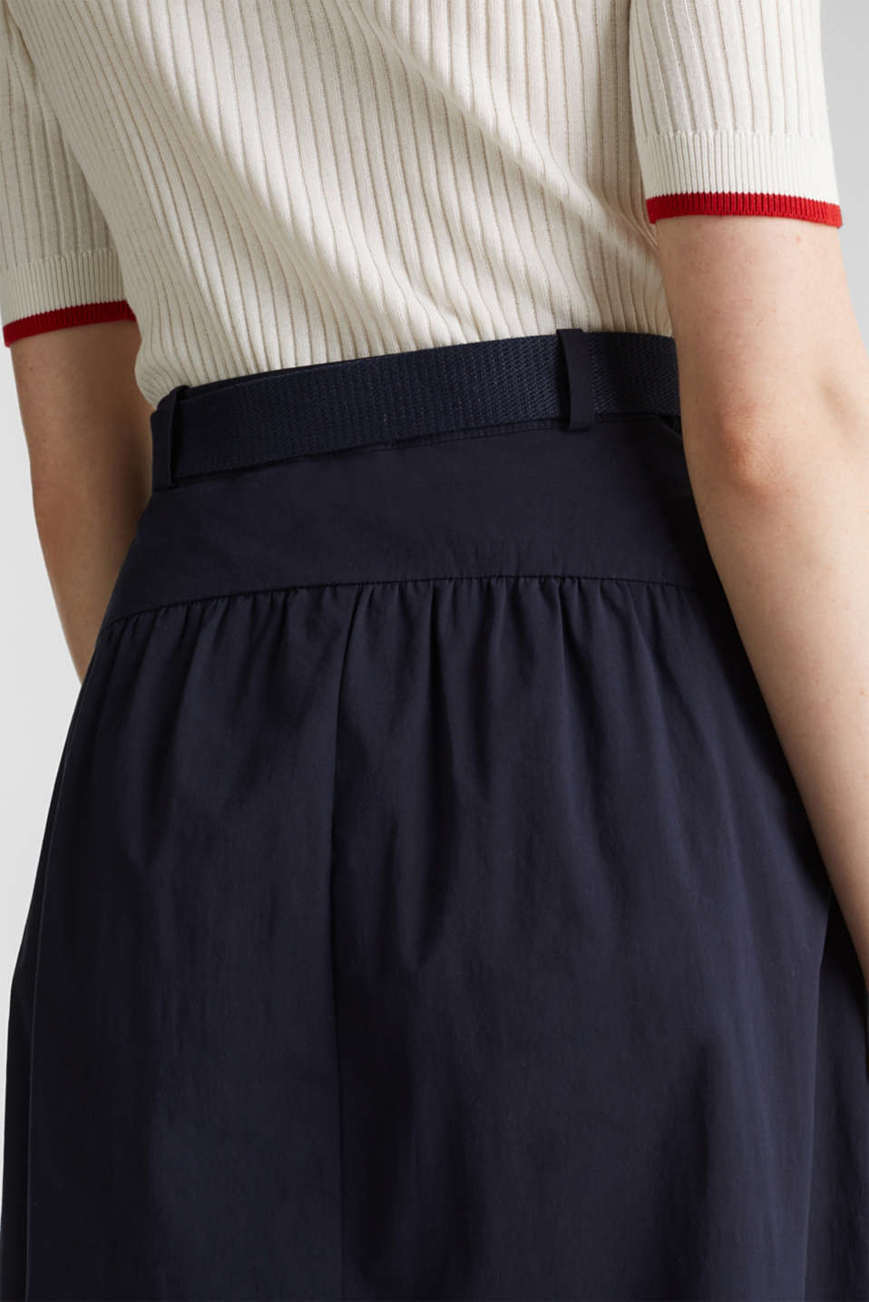 Flared poplin skirt with a belt, NAVY, detail image number 4