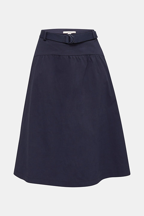 Flared poplin skirt with a belt