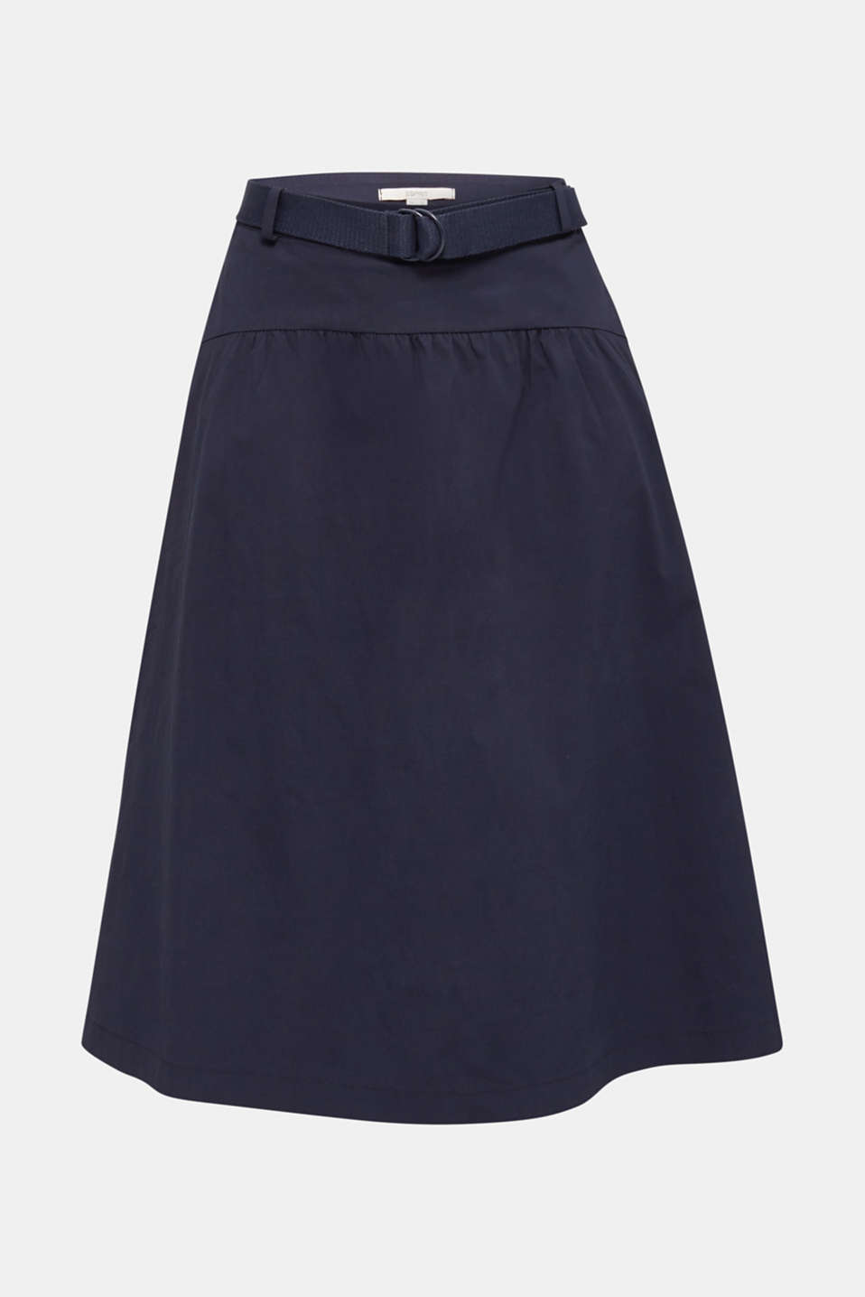 Flared poplin skirt with a belt, NAVY, detail image number 6